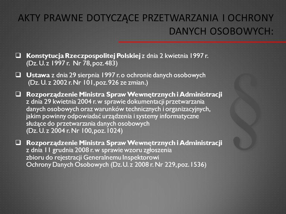  Konstytucja Rzeczpospolitej Polskiej z dnia 2 kwietnia 1997 r. (Dz. U. z 1997 r. Nr 78, poz. 483)  Ustawa z dnia 29 sierpnia 1997 r. o ochronie dan