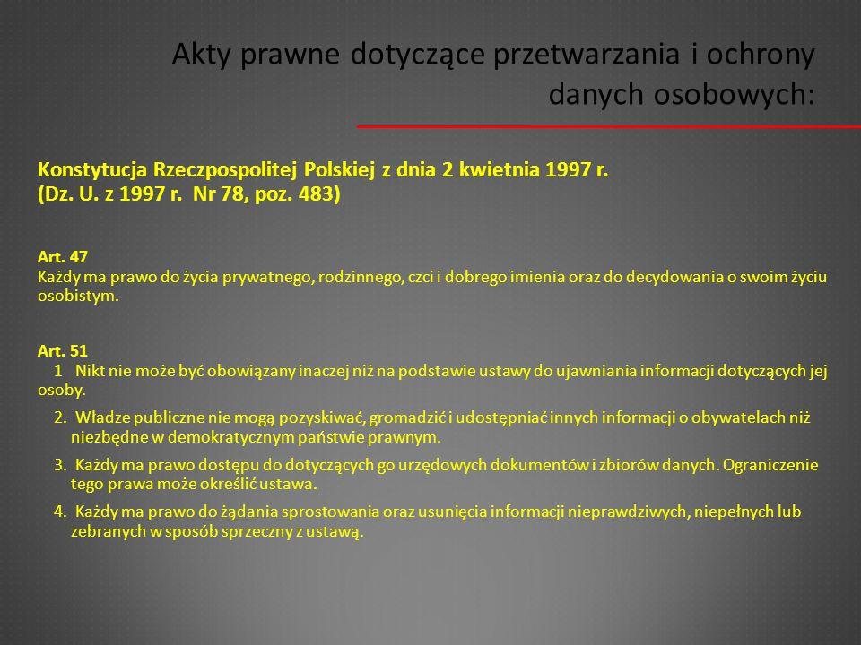 Konstytucja Rzeczpospolitej Polskiej z dnia 2 kwietnia 1997 r. (Dz. U. z 1997 r. Nr 78, poz. 483) Art. 47 Każdy ma prawo do życia prywatnego, rodzinne