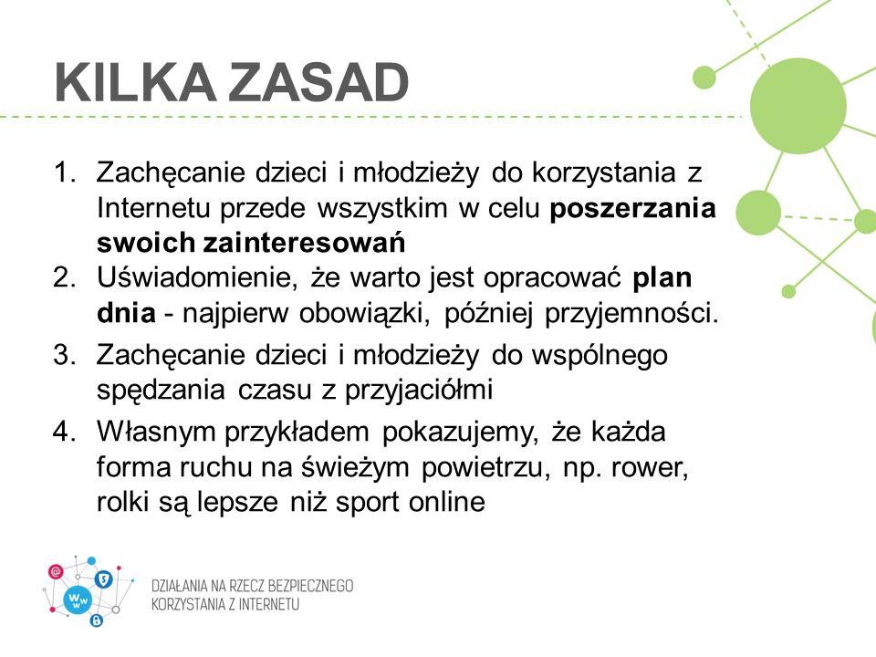 KILKA ZASAD 1. Zachęcanie dzieci i młodzieży do korzystania z Internetu przede wszystkim w celu poszerzania swoich zainteresowań 2. Uświadomienie, że