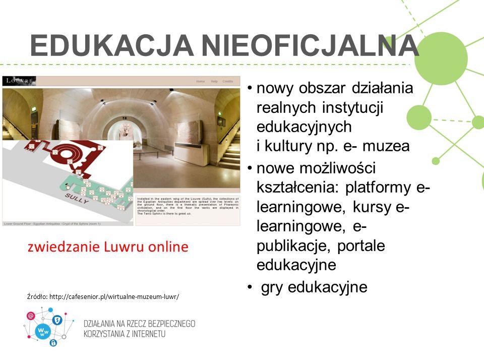 EDUKACJA NIEOFICJALNA nowy obszar działania realnych instytucji edukacyjnych i kultury np. e- muzea nowe możliwości kształcenia: platformy e- learning