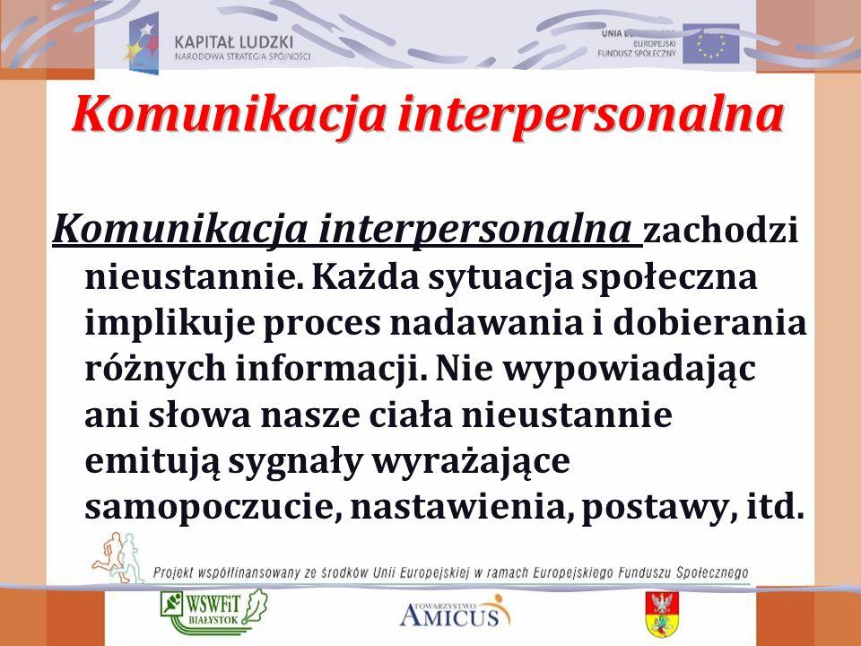 Komunikacja interpersonalna zachodzi nieustannie.