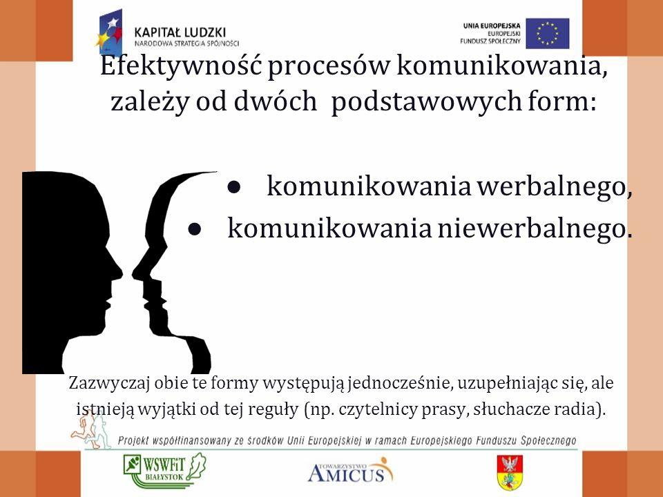 Efektywność procesów komunikowania, zależy od dwóch podstawowych form: ● komunikowania werbalnego, ● komunikowania niewerbalnego.
