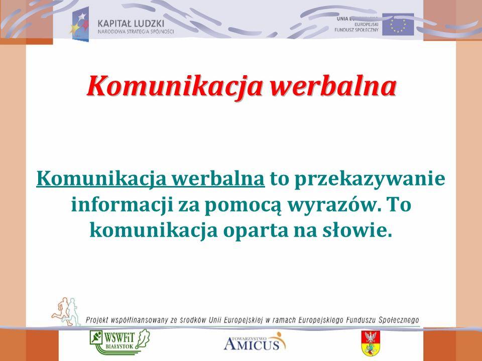 Komunikacja werbalna to przekazywanie informacji za pomocą wyrazów.