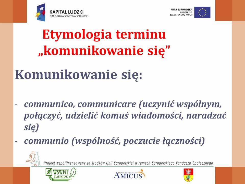 """Komunikowanie się: - communico, communicare (uczynić wspólnym, połączyć, udzielić komuś wiadomości, naradzać się) - communio (wspólność, poczucie łączności) Etymologia terminu """"komunikowanie się"""