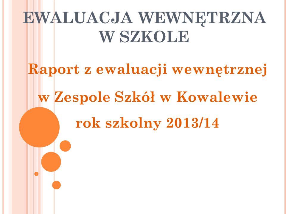 EWALUACJA WEWNĘTRZNA W SZKOLE Raport z ewaluacji wewnętrznej w Zespole Szkół w Kowalewie rok szkolny 2013/14