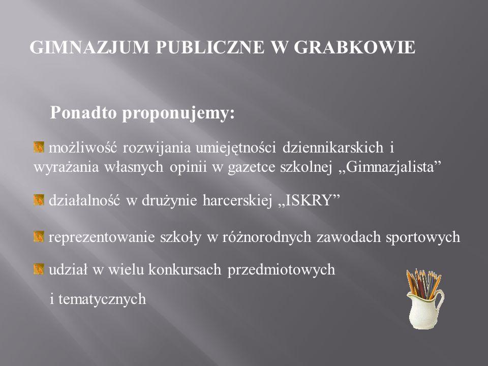 GIMNAZJUM PUBLICZNE W GRABKOWIE W naszym gimnazjum działa wiele kół przedmiotowych, m.in.: matematyczne polonistyczne językowe informatyczne szachowe sportowe - SKS plastyczne europejskie ekologiczne