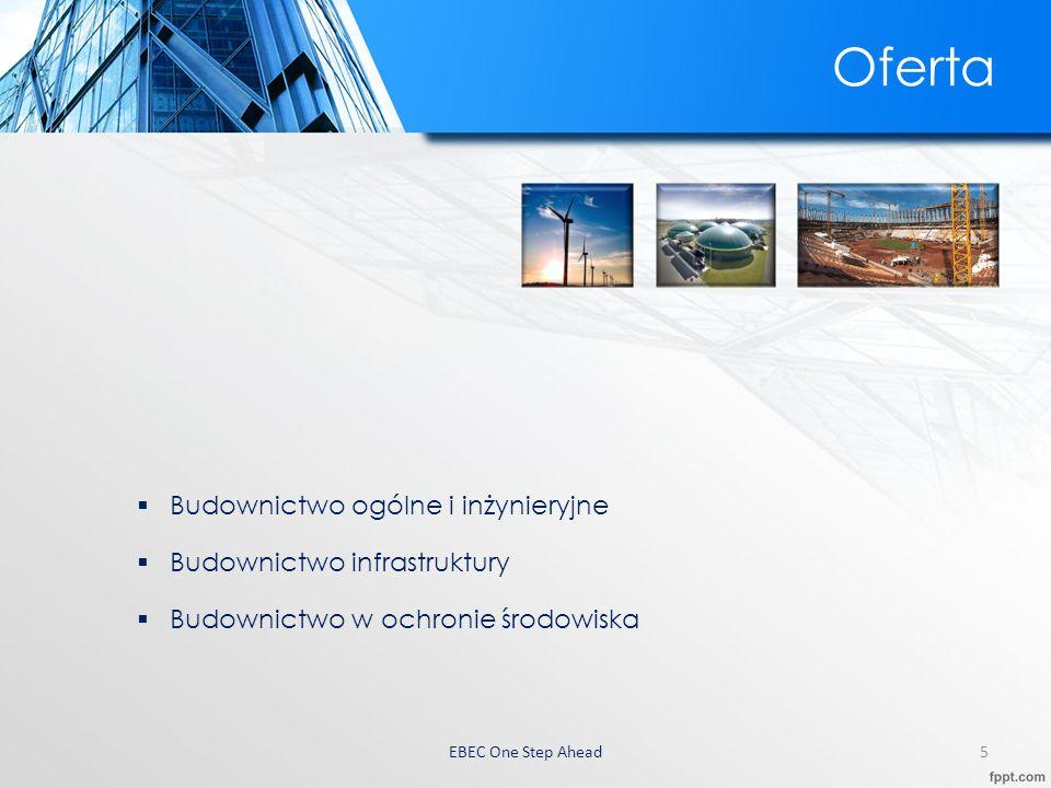 EBEC One Step Ahead 6 Budownictwo ogólne i inżynieryjne Zespół EBEC jest w stanie podjąć się najbardziej złożonych przedsięwzięć inwestycyjnych różnego rodzaju.