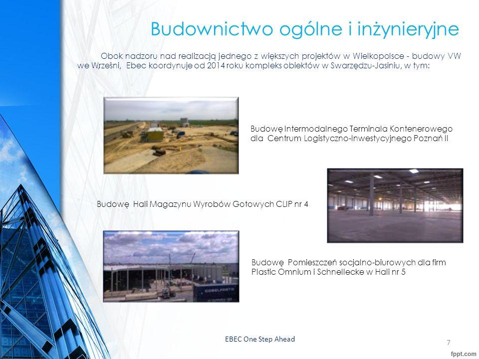 """EBEC One Step Ahead8 Budownictwo ogólne i inżynieryjne - pozostałe projekty: 2015 Przygotowanie Roszczeń w ramach projektu budowy DOUBLE TREE BY HILTON WARSAW CONFERENCE CENTER AND SPA"""" 2014/2015 Trasko-Inwest Sp."""