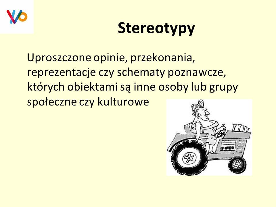 Stereotypy Uproszczone opinie, przekonania, reprezentacje czy schematy poznawcze, których obiektami są inne osoby lub grupy społeczne czy kulturowe