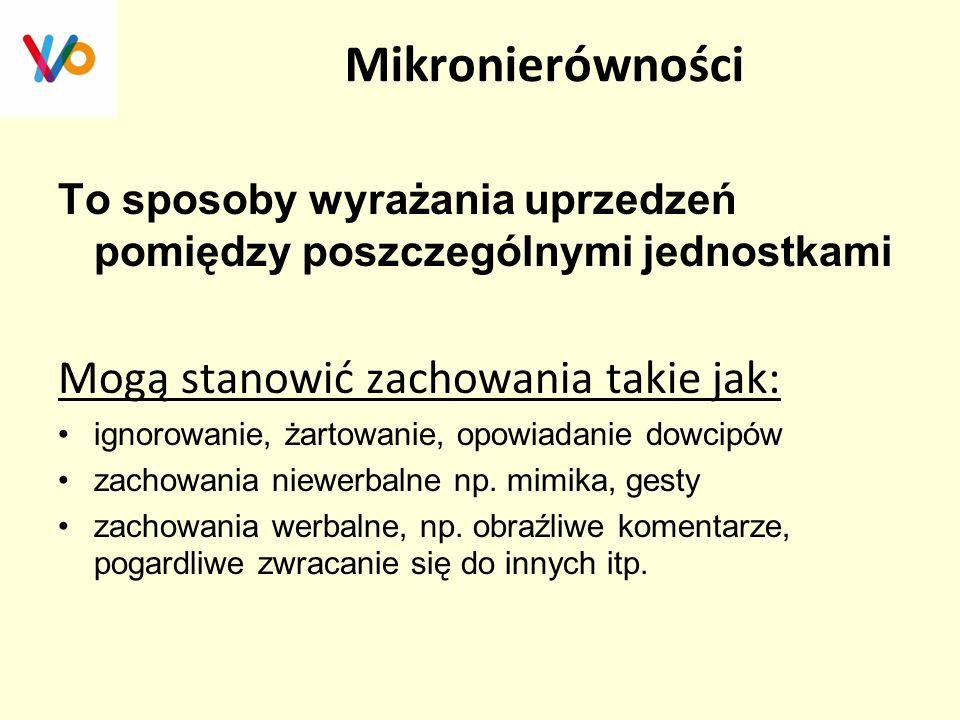 Mikronierówności To sposoby wyrażania uprzedzeń pomiędzy poszczególnymi jednostkami Mogą stanowić zachowania takie jak: ignorowanie, żartowanie, opowi