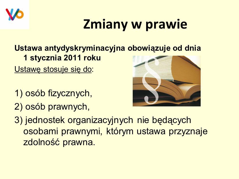 Zmiany w prawie Ustawa antydyskryminacyjna obowiązuje od dnia 1 stycznia 2011 roku Ustawę stosuje się do: 1) osób fizycznych, 2) osób prawnych, 3) jed
