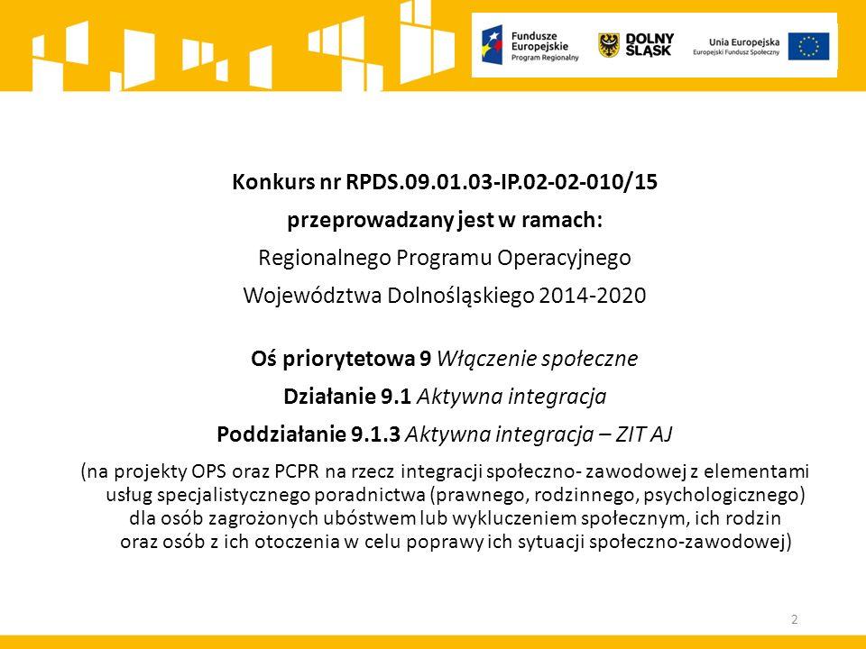 Konkurs nr RPDS.09.01.03-IP.02-02-010/15 przeprowadzany jest w ramach: Regionalnego Programu Operacyjnego Województwa Dolnośląskiego 2014-2020 Oś priorytetowa 9 Włączenie społeczne Działanie 9.1 Aktywna integracja Poddziałanie 9.1.3 Aktywna integracja – ZIT AJ (na projekty OPS oraz PCPR na rzecz integracji społeczno- zawodowej z elementami usług specjalistycznego poradnictwa (prawnego, rodzinnego, psychologicznego) dla osób zagrożonych ubóstwem lub wykluczeniem społecznym, ich rodzin oraz osób z ich otoczenia w celu poprawy ich sytuacji społeczno-zawodowej) 2