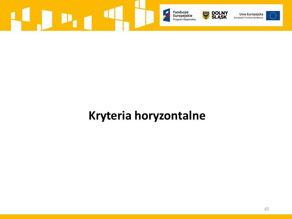 Kryteria horyzontalne 45