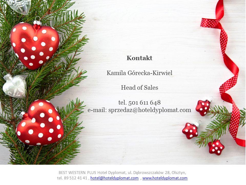Kontakt Kamila Górecka-Kirwiel Head of Sales tel.