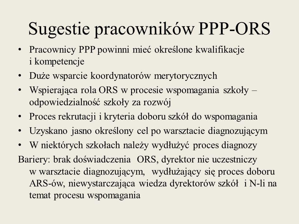 Sugestie pracowników PPP-ORS Pracownicy PPP powinni mieć określone kwalifikacje i kompetencje Duże wsparcie koordynatorów merytorycznych Wspierająca r