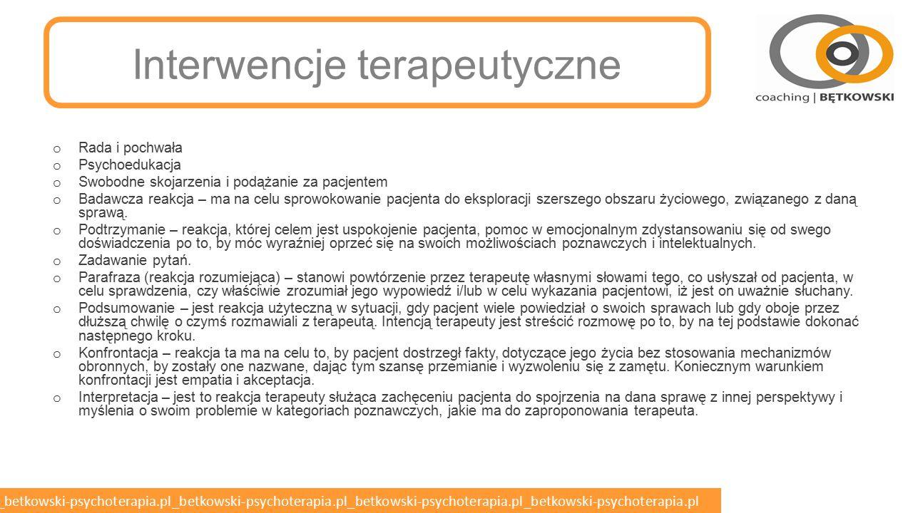 betkowski-psychoterapia.pl_betkowski-psychoterapia.pl_betkowski-psychoterapia.pl_betkowski-psychoterapia.pl_betkowski-psychoterapia.pl Źródła danych Informacje od pacjenta opisujące jego stany wewnętrzne (przygnębienie, lęk, złość, niepamięć, omamy, radość, szczęście) Informacje badającego na podstawie obserwacji pacjenta (niepokój ruchowy, drżenie, ubóstwo ruchu, przyspieszenie lub zwolnienie psychomotoryczne, bladość, czerwienienie się) Odczucia i reakcje badającego wynikające z kontaktu z pacjentem (wrażenia spłycenia, niedostosowania, zobojętnienia, impulsywności, katatymi, paratymi, paramimi)