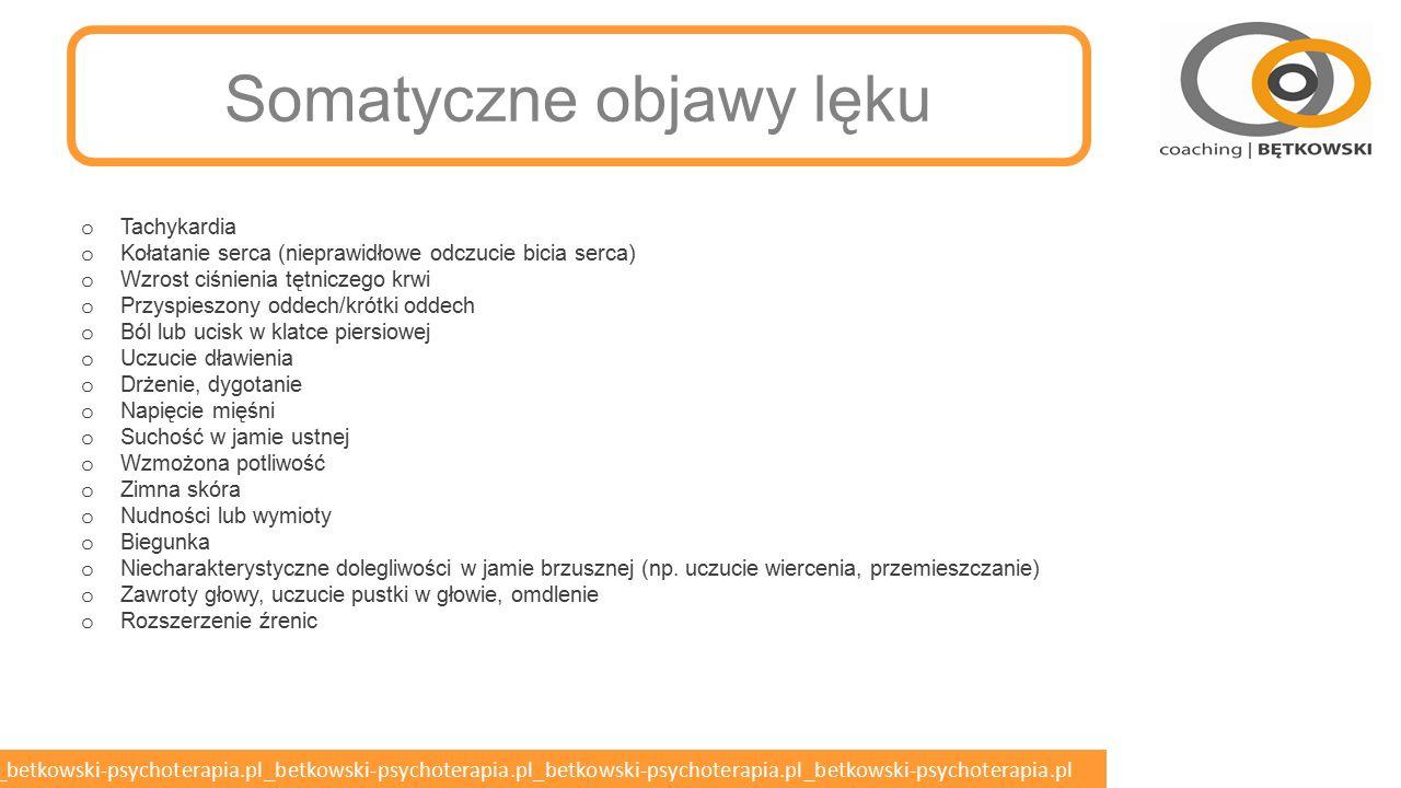 betkowski-psychoterapia.pl_betkowski-psychoterapia.pl_betkowski-psychoterapia.pl_betkowski-psychoterapia.pl_betkowski-psychoterapia.pl Postępowanie z chorym w lęku napadowym Lęk uogólniony o Powolny początek o Łagodny do umiarkowanego o Długi czas trwania Napad o Ostry początek o Lęk nasilony o Trwa krótko