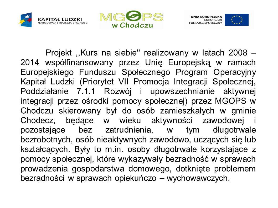 Projekt,,Kurs na siebie realizowany w latach 2008 – 2014 współfinansowany przez Unię Europejską w ramach Europejskiego Funduszu Społecznego Program Operacyjny Kapitał Ludzki (Priorytet VII Promocja Integracji Społecznej, Poddziałanie 7.1.1 Rozwój i upowszechnianie aktywnej integracji przez ośrodki pomocy społecznej) przez MGOPS w Chodczu skierowany był do osób zamieszkałych w gminie Chodecz, będące w wieku aktywności zawodowej i pozostające bez zatrudnienia, w tym długotrwale bezrobotnych, osób nieaktywnych zawodowo, uczących się lub kształcących.