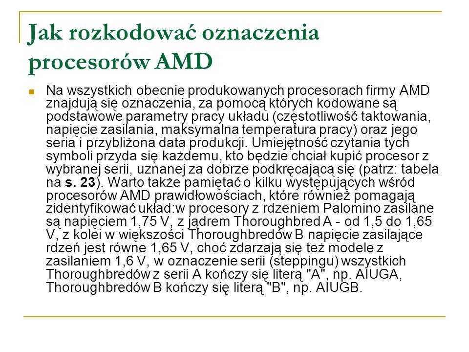 Jak rozkodować oznaczenia procesorów AMD Na wszystkich obecnie produkowanych procesorach firmy AMD znajdują się oznaczenia, za pomocą których kodowane