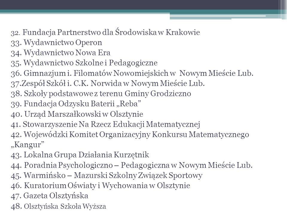 32. Fundacja Partnerstwo dla Środowiska w Krakowie 33. Wydawnictwo Operon 34. Wydawnictwo Nowa Era 35. Wydawnictwo Szkolne i Pedagogiczne 36. Gimnazju