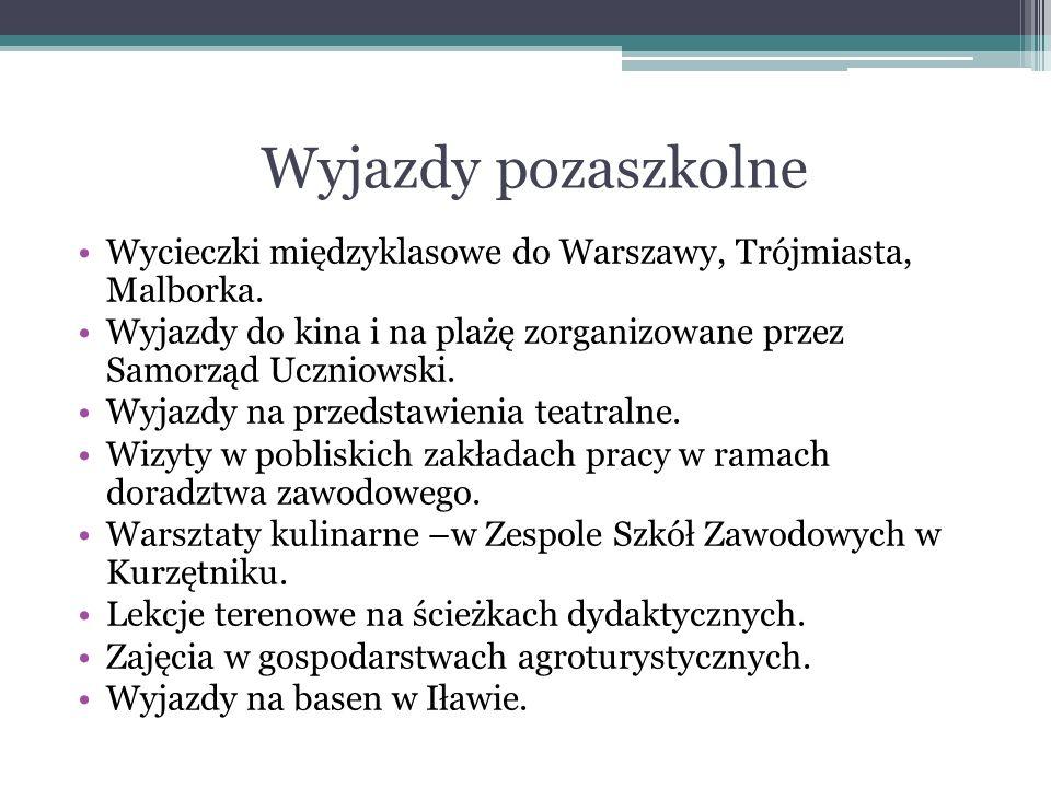 Wyjazdy pozaszkolne Wycieczki międzyklasowe do Warszawy, Trójmiasta, Malborka. Wyjazdy do kina i na plażę zorganizowane przez Samorząd Uczniowski. Wyj