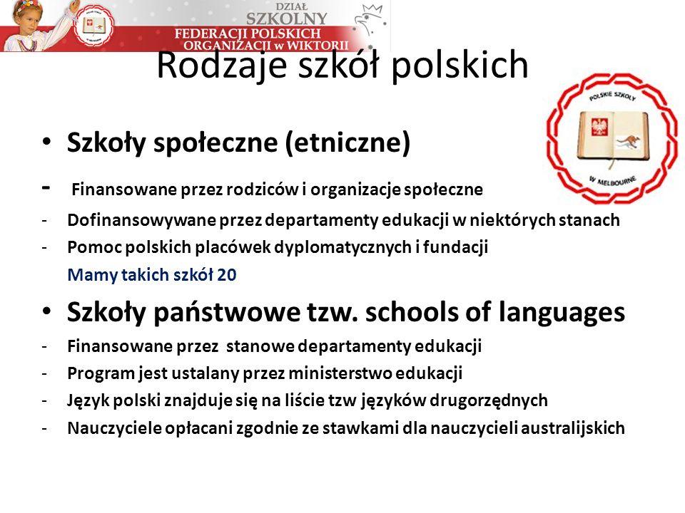 Rodzaje szkół polskich Szkoły społeczne (etniczne) - Finansowane przez rodziców i organizacje społeczne -Dofinansowywane przez departamenty edukacji w niektórych stanach -Pomoc polskich placówek dyplomatycznych i fundacji Mamy takich szkół 20 Szkoły państwowe tzw.