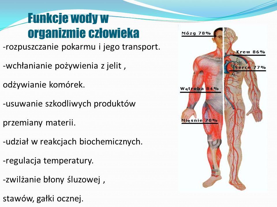 Funkcje wody w organizmie człowieka -r ozpuszczanie pokarmu i jego transport. -wchłanianie pożywienia z jelit, odżywianie komórek. -usuwanie szkodliwy