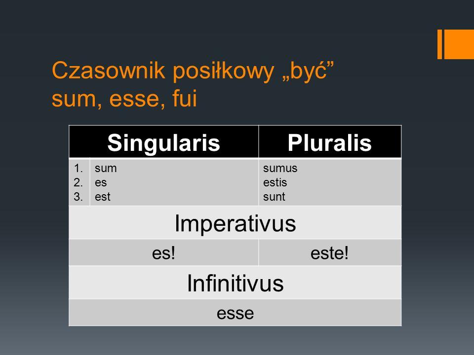 """Czasownik posiłkowy """"być"""" sum, esse, fui SingularisPluralis 1. 2. 3. sum es est sumus estis sunt Imperativus es!este! Infinitivus esse"""