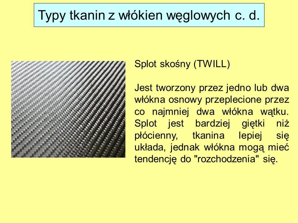 Splot skośny (TWILL) Jest tworzony przez jedno lub dwa włókna osnowy przeplecione przez co najmniej dwa włókna wątku. Splot jest bardziej giętki niż p
