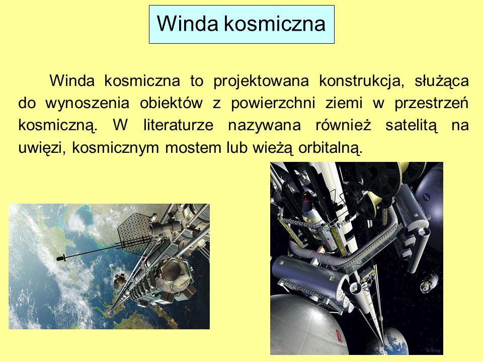 Winda kosmiczna Winda kosmiczna to projektowana konstrukcja, służąca do wynoszenia obiektów z powierzchni ziemi w przestrzeń kosmiczną. W literaturze