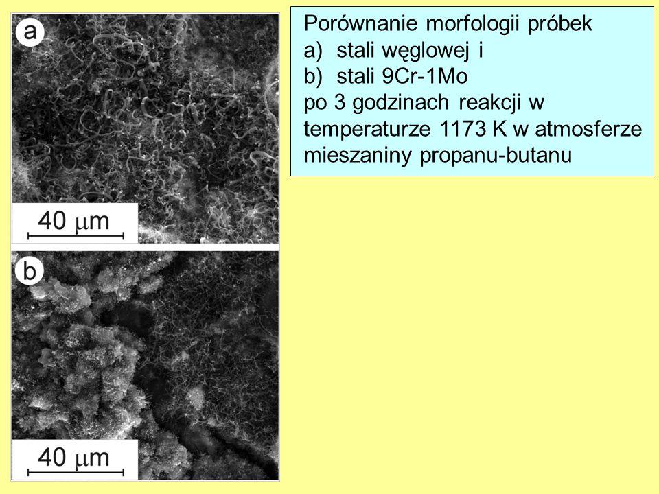 Porównanie morfologii próbek a)stali węglowej i b)stali 9Cr-1Mo po 3 godzinach reakcji w temperaturze 1173 K w atmosferze mieszaniny propanu-butanu