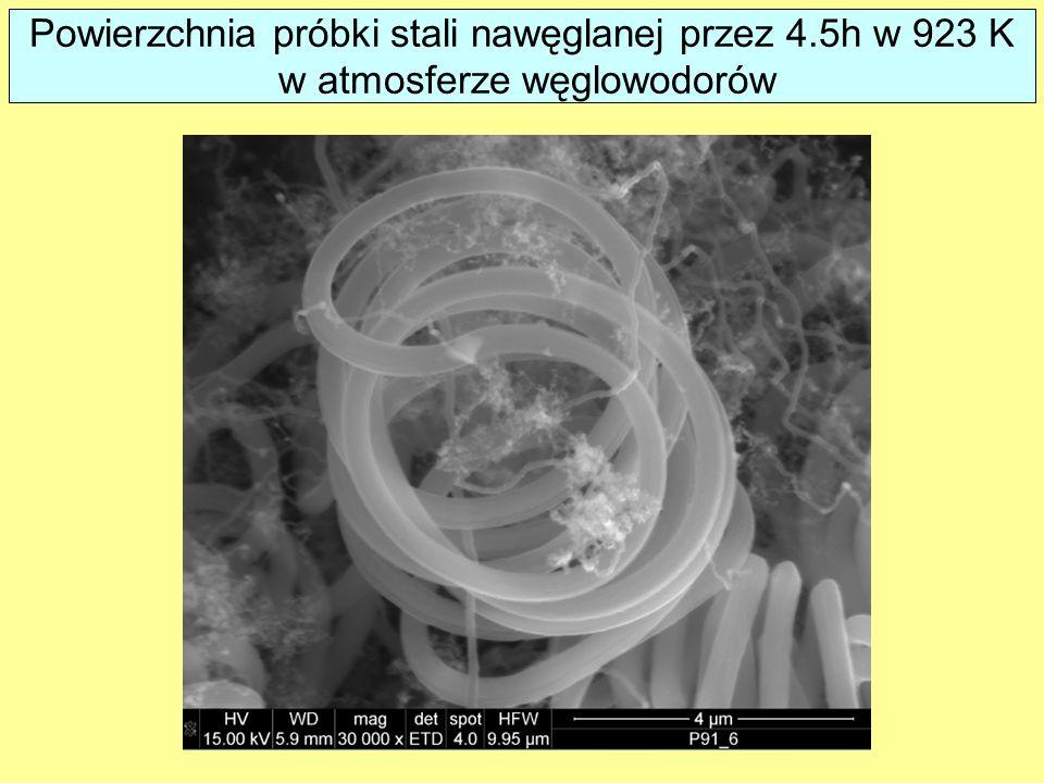 Powierzchnia próbki stali nawęglanej przez 4.5h w 923 K w atmosferze węglowodorów