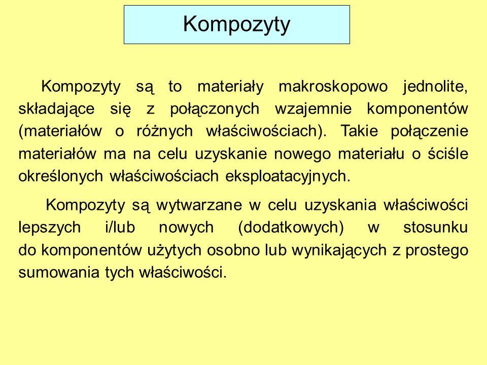 Kompozyty Kompozyty są to materiały makroskopowo jednolite, składające się z połączonych wzajemnie komponentów (materiałów o różnych właściwościach).