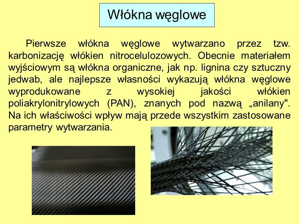 Włókna węglowe Pierwsze włókna węglowe wytwarzano przez tzw. karbonizację włókien nitrocelulozowych. Obecnie materiałem wyjściowym są włókna organiczn