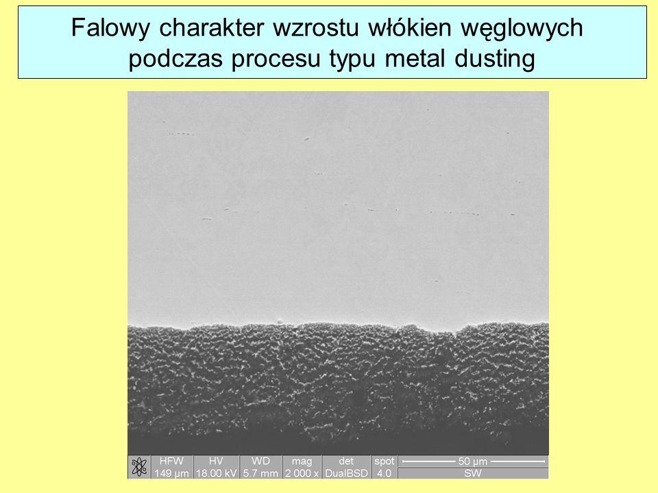 Falowy charakter wzrostu włókien węglowych podczas procesu typu metal dusting