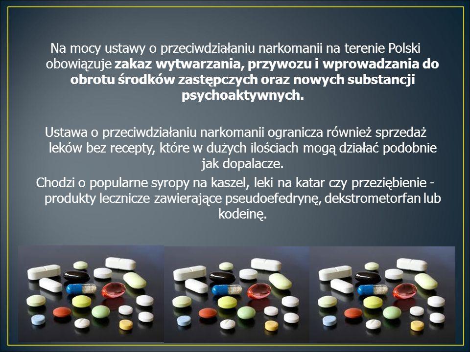 Na mocy ustawy o przeciwdziałaniu narkomanii na terenie Polski obowiązuje zakaz wytwarzania, przywozu i wprowadzania do obrotu środków zastępczych oraz nowych substancji psychoaktywnych.