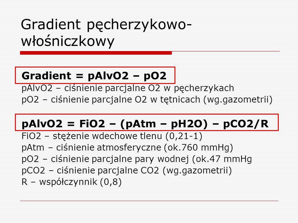Gradient pęcherzykowo- włośniczkowy Gradient = pAlvO2 – pO2 pAlvO2 – ciśnienie parcjalne O2 w pęcherzykach pO2 – ciśnienie parcjalne O2 w tętnicach (wg.gazometrii) pAlvO2 = FiO2 – (pAtm – pH2O) – pCO2/R FiO2 – stężenie wdechowe tlenu (0,21-1) pAtm – ciśnienie atmosferyczne (ok.760 mmHg) pO2 – ciśnienie parcjalne pary wodnej (ok.47 mmHg pCO2 – ciśnienie parcjalne CO2 (wg.gazometrii) R – współczynnik (0,8)