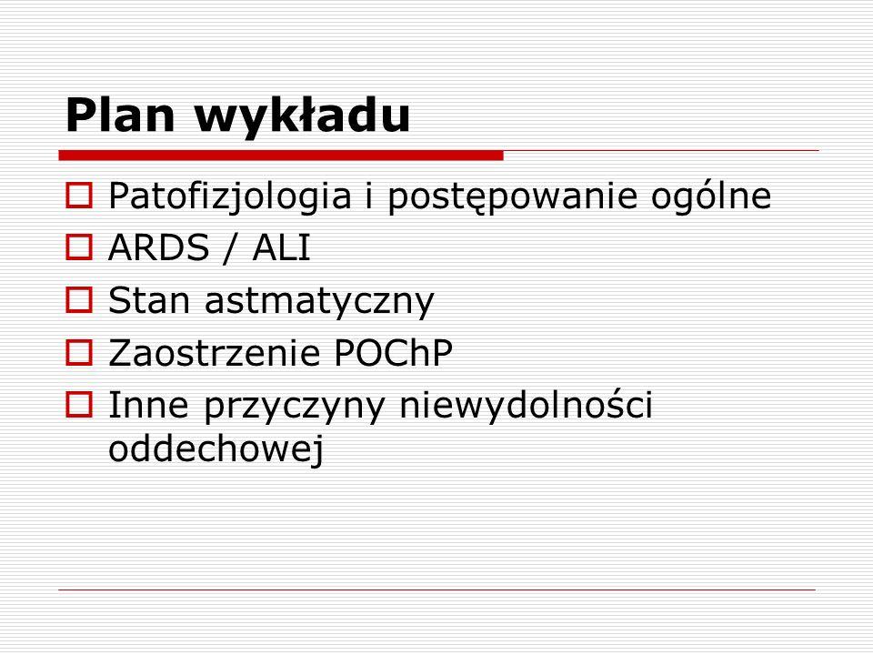 Plan wykładu  Patofizjologia i postępowanie ogólne  ARDS / ALI  Stan astmatyczny  Zaostrzenie POChP  Inne przyczyny niewydolności oddechowej