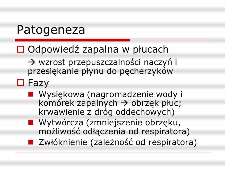 Patogeneza  Odpowiedź zapalna w płucach  wzrost przepuszczalności naczyń i przesiękanie płynu do pęcherzyków  Fazy Wysiękowa (nagromadzenie wody i komórek zapalnych  obrzęk płuc; krwawienie z dróg oddechowych) Wytwórcza (zmniejszenie obrzęku, możliwość odłączenia od respiratora) Zwłóknienie (zależność od respiratora)