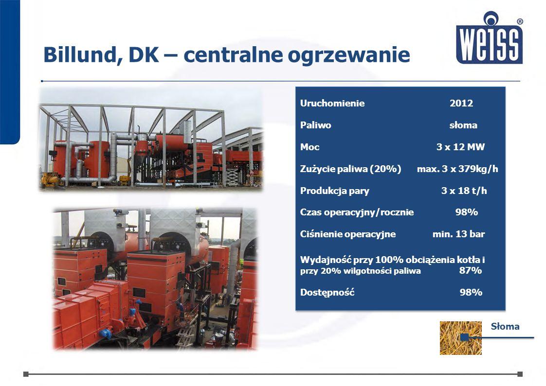 Uruchomienie2012 Paliwosłoma MocMoc3 x 12 MW Zużycie paliwa (20%)max. 3 x 379kg/h Produkcja pary3 x 18 t/h3 x 18 t/h Czas operacyjny/rocznie98% Ciśnie