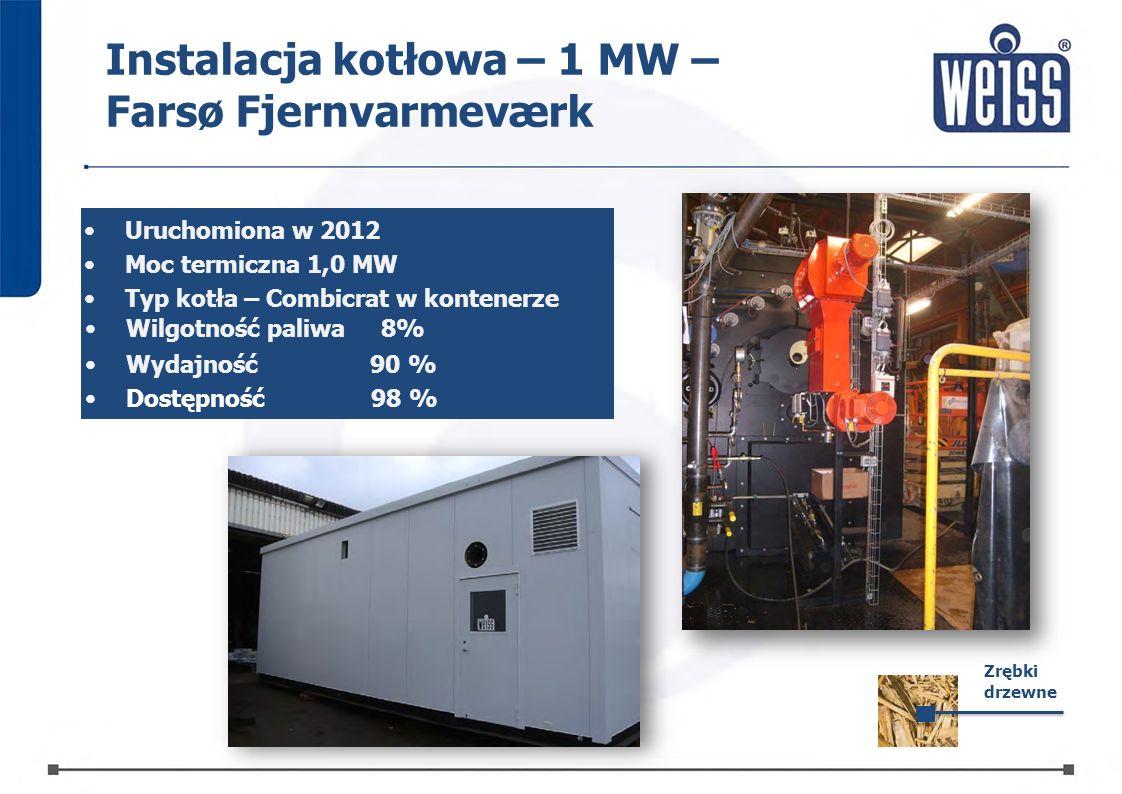 Instalacja kotłowa – 1 MW – Farsø Fjernvarmeværk Uruchomiona w 2012 Moc termiczna 1,0 MW Typ kotła – Combicrat w kontenerze Zrębki drzewne Wilgotność