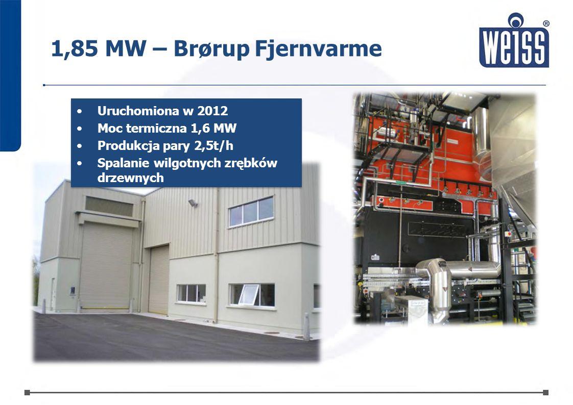 1,85 MW – Brørup Fjernvarme Uruchomiona w 2012 Moc termiczna 1,6 MW Produkcja pary 2,5t/h Spalanie wilgotnych zrębków drzewnych