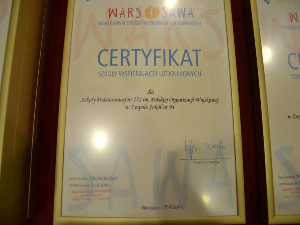 Certyfikat Prezydenta m.st.