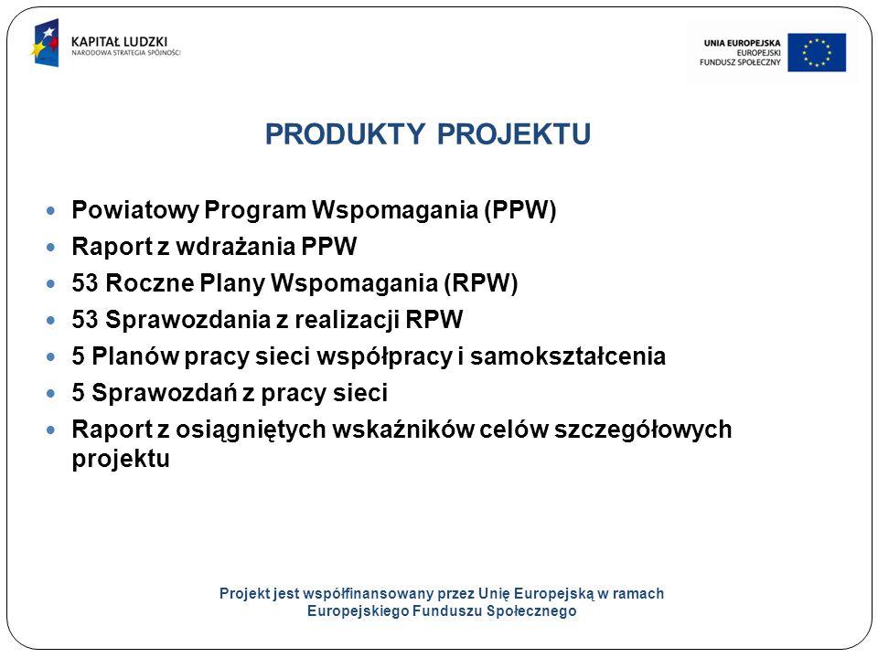 17 PRODUKTY PROJEKTU Powiatowy Program Wspomagania (PPW) Raport z wdrażania PPW 53 Roczne Plany Wspomagania (RPW) 53 Sprawozdania z realizacji RPW 5 Planów pracy sieci współpracy i samokształcenia 5 Sprawozdań z pracy sieci Raport z osiągniętych wskaźników celów szczegółowych projektu Projekt jest współfinansowany przez Unię Europejską w ramach Europejskiego Funduszu Społecznego
