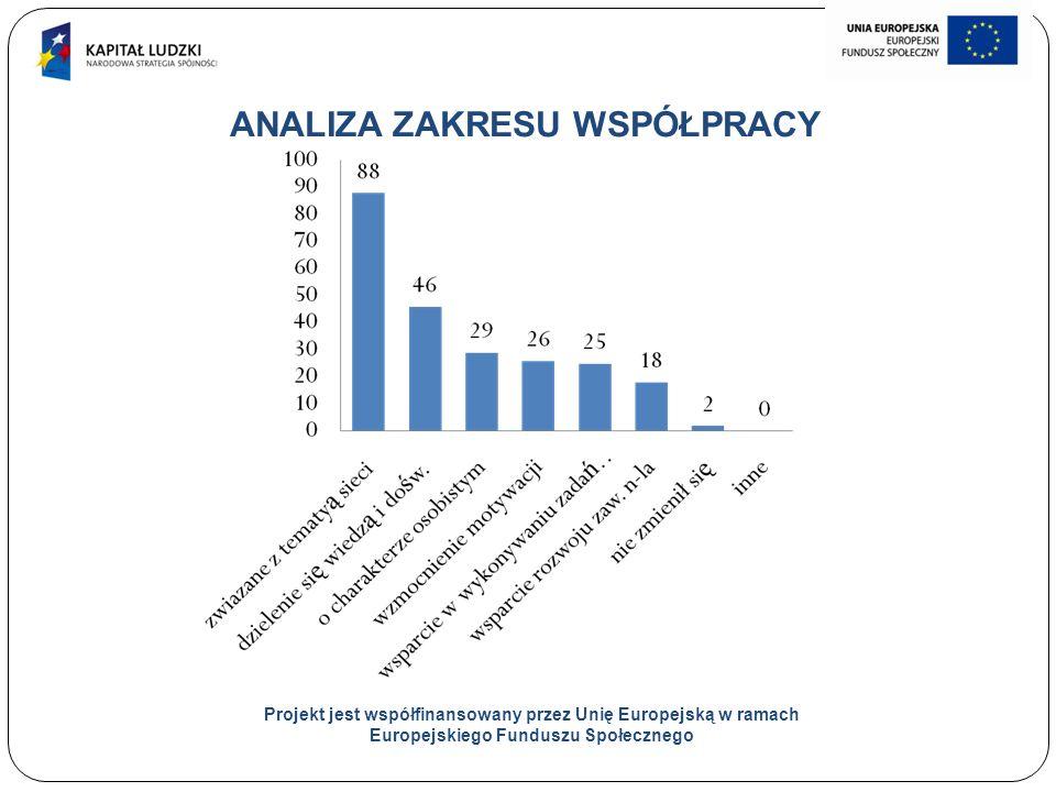 24 ANALIZA ZAKRESU WSPÓŁPRACY Projekt jest współfinansowany przez Unię Europejską w ramach Europejskiego Funduszu Społecznego