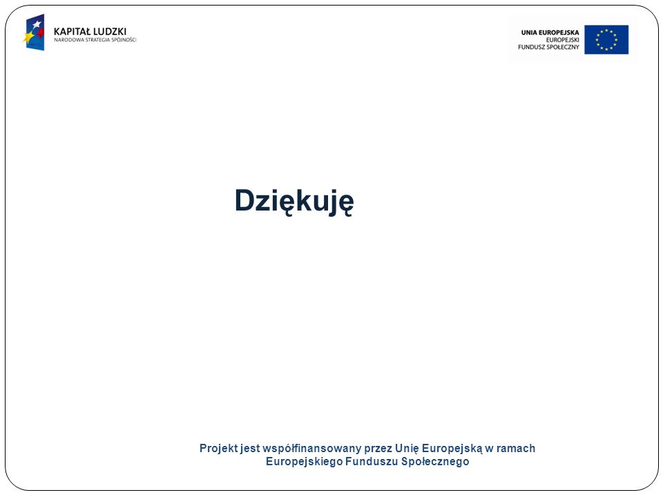 30 Dziękuję Projekt jest współfinansowany przez Unię Europejską w ramach Europejskiego Funduszu Społecznego