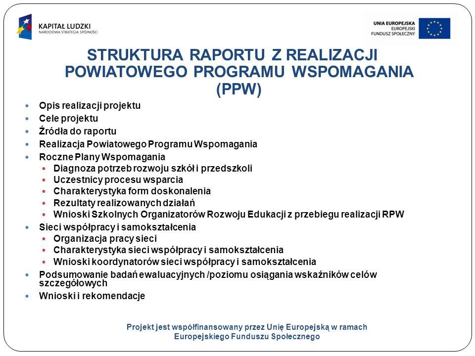 7 STRUKTURA RAPORTU Z REALIZACJI POWIATOWEGO PROGRAMU WSPOMAGANIA (PPW) Opis realizacji projektu Cele projektu Źródła do raportu Realizacja Powiatowego Programu Wspomagania Roczne Plany Wspomagania Diagnoza potrzeb rozwoju szkół i przedszkoli Uczestnicy procesu wsparcia Charakterystyka form doskonalenia Rezultaty realizowanych działań Wnioski Szkolnych Organizatorów Rozwoju Edukacji z przebiegu realizacji RPW Sieci współpracy i samokształcenia Organizacja pracy sieci Charakterystyka sieci współpracy i samokształcenia Wnioski koordynatorów sieci współpracy i samokształcenia Podsumowanie badań ewaluacyjnych /poziomu osiągania wskaźników celów szczegółowych Wnioski i rekomendacje Projekt jest współfinansowany przez Unię Europejską w ramach Europejskiego Funduszu Społecznego
