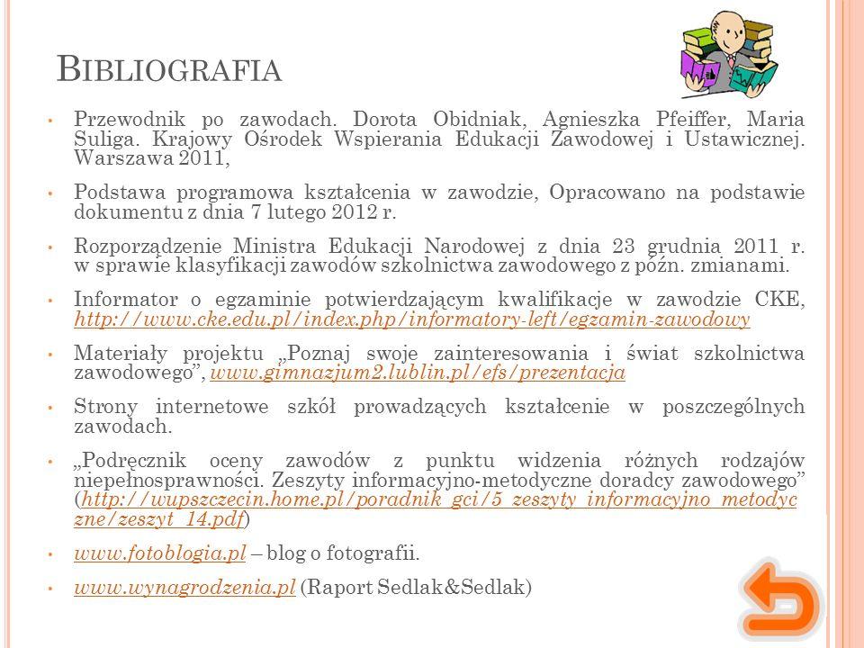 B IBLIOGRAFIA Przewodnik po zawodach. Dorota Obidniak, Agnieszka Pfeiffer, Maria Suliga.