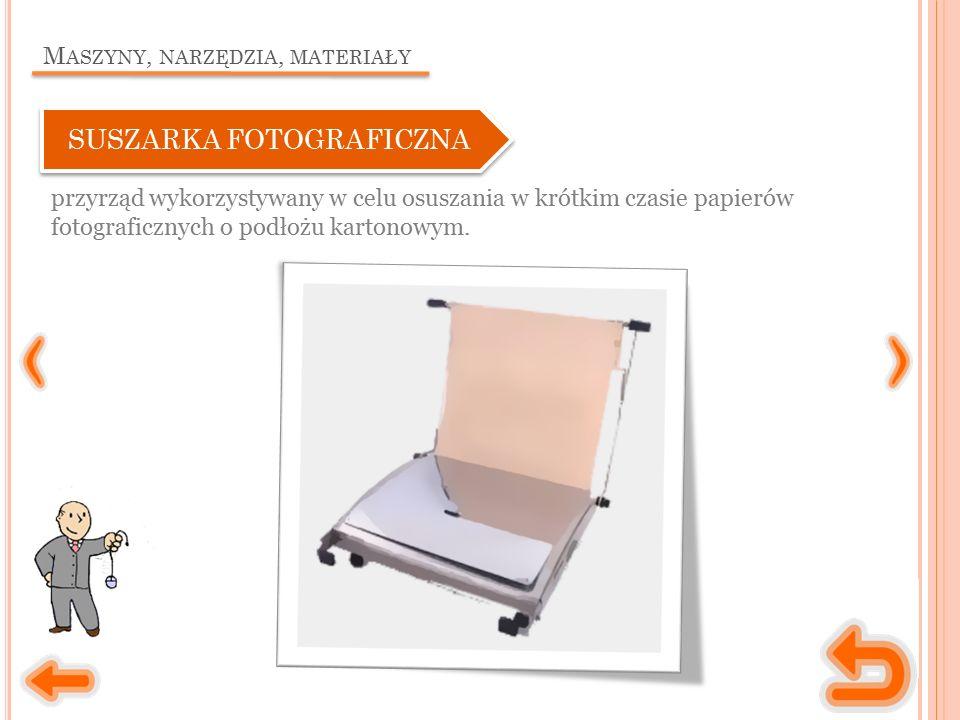 M ASZYNY, NARZĘDZIA, MATERIAŁY przyrząd wykorzystywany w celu osuszania w krótkim czasie papierów fotograficznych o podłożu kartonowym.