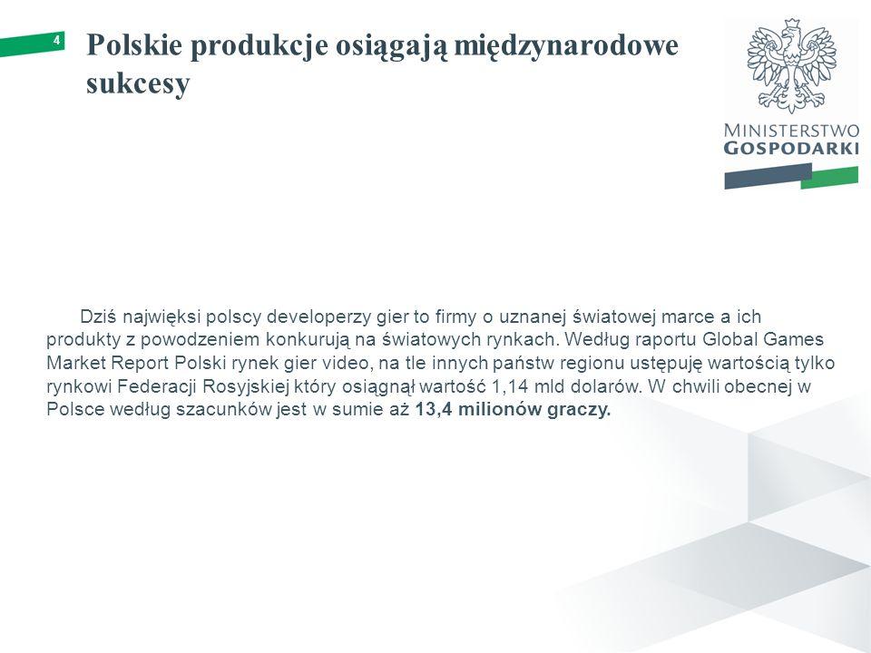 Polskie produkcje osiągają międzynarodowe sukcesy 4 Dziś najwięksi polscy developerzy gier to firmy o uznanej światowej marce a ich produkty z powodzeniem konkurują na światowych rynkach.